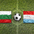 Bulgaria vs. Luxembourg flags on soccer field stock photo © kb-photodesign