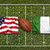 USA vs. Ireland flags on rugby field stock photo © kb-photodesign