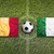 belgium vs italy flags on soccer field stock photo © kb-photodesign