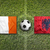 Ireland vs. Albania flags on soccer field stock photo © kb-photodesign