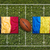 belgium vs romania flags on rugby field stock photo © kb-photodesign
