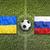 Ukraine vs. Russia flags on soccer field stock photo © kb-photodesign