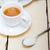 italiano · café · expresso · café · bolo · de · queijo · branco · mesa · de · madeira - foto stock © keko64