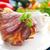 original · churrasco · carne · de · porco · servido · batatas · chucrute - foto stock © keko64