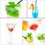cocktails · collage · boissons · carré · cadre · fruits - photo stock © keko64