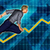 european businessman running with chart graph background stock photo © kentoh