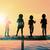 силуэта · детей · закат · пруд · счастливым · ребенка - Сток-фото © kentoh