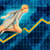 caucasian businesswoman running with chart graph background stock photo © kentoh