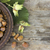 mogyoró · fából · készült · tányér · frissen · mogyoró · étel - stock fotó © Kidza
