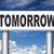 明日 · 道路標識 · 次 · 日 · バナー · すぐに来る - ストックフォト © kikkerdirk