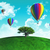 hot air balloons with tree on grassy globe stock photo © kjpargeter