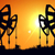 silhouette pump jacks at sunset oil industry stock photo © klss