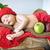 újszülött · gyermek · alszik · pléd · színes · virág - stock fotó © konradbak