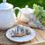 francia · reggeli · desszert · croissantok · kávé · gyümölcs - stock fotó © konradbak