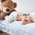 cute · pasgeboren · baby · teddybeer · deken · bed - stockfoto © konradbak