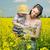 virág · zöld · fű · citromsárga · díszlet · égbolt · természet - stock fotó © konradbak
