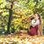 gelukkig · zwangere · vrouw · najaar · park · drinken · thee - stockfoto © konradbak