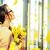 romántica · joven · ramo · frescos · tulipanes · jóvenes - foto stock © konradbak