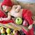 newborn child sleeping on the box of apples stock photo © konradbak
