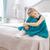 młoda · kobieta · posiedzenia · bed · ból · kobieta · młodych - zdjęcia stock © konradbak