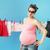 мамы · прачечной · Cute · матери · беременна · зеленый - Сток-фото © konradbak