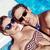 boldog · nyár · nő · napszemüveg · medence · portré - stock fotó © konradbak