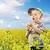 gelukkig · weinig · jongen · mooie · groene · Geel - stockfoto © konradbak