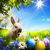 art little easter bunny and easter eggs on green grass stock photo © konstanttin