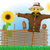 scarecrow straw in a coat and hat with fence and sunflowers stock photo © konturvid