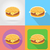 cheeseburger sandwich fast food flat icons with the shadow vecto stock photo © konturvid