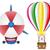 balão · de · ar · quente · isolado · branco · quente · cesta · cores - foto stock © konturvid