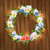 floral wreath on wood background stock photo © kostins