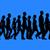 pessoas · do · grupo · caminhada · silhuetas · isolado · azul · trabalho · em · equipe - foto stock © kravcs