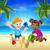 cartoon kids having fun on the beach stock photo © krisdog