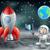 cartoon astronaut and vintage space rocket on the moon stock photo © krisdog