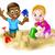 feliz · crianças · praia · ilustração - foto stock © krisdog