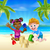 cartoon kids on the beach stock photo © krisdog