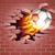flaming soccer football ball breaking through brick wall stock photo © krisdog