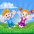 feliz · desenho · animado · menino · menina · saltando - foto stock © krisdog