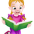 Kid · девушки · читать · книга · подушка · иллюстрация - Сток-фото © krisdog
