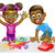 cartoon boy and girl playing with toy car and paint stock photo © krisdog