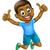 feliz · desenho · animado · preto · menino · saltando · jovem - foto stock © krisdog