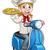 cartoon woman pizza chef on delivering pizza stock photo © krisdog