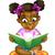 iskolás · lány · karakter · boldog · gyerek · ül · könyvek - stock fotó © krisdog