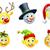 christmas · zestaw · Święty · mikołaj · snowman · inny - zdjęcia stock © krisdog