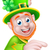 leprechaun pointing round sign stock photo © krisdog