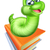 gelukkig · worm · cartoon · mascotte · karakter · rode · appel · school - stockfoto © krisdog