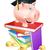 rosa · piggy · bank · em · pé · topo · livros - foto stock © krisdog