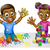 cartoon boy and girl with paint and blocks stock photo © krisdog