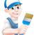 penseel · mascotte · illustratie · cute · gelukkig · Rood - stockfoto © krisdog
